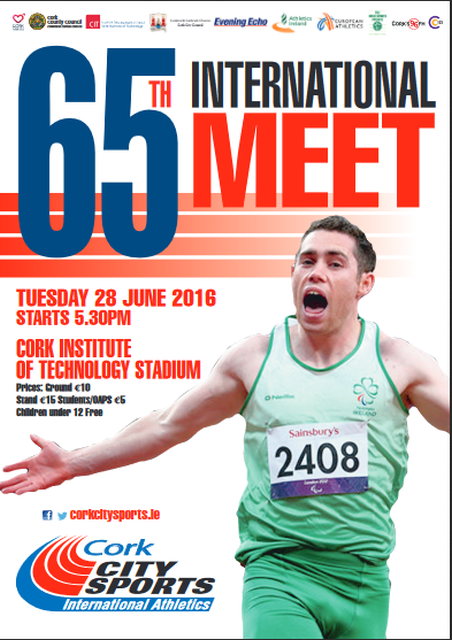 65th Cork City Sports, Tuesday June 28th 2016 - Event Flyer