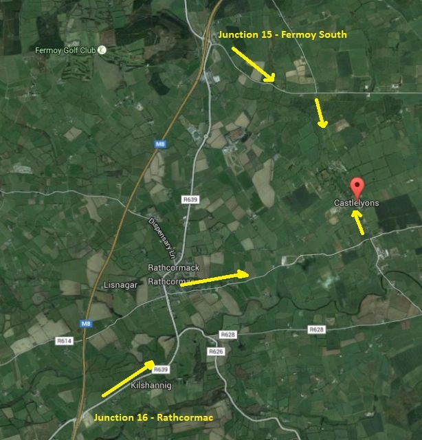 Castlelyons M8 Directions Map