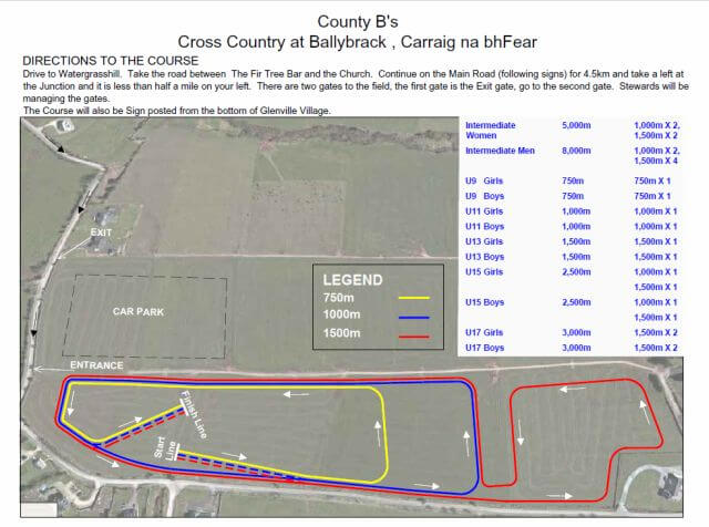 cork athletics county intermediate and juvenile b course map 2017s