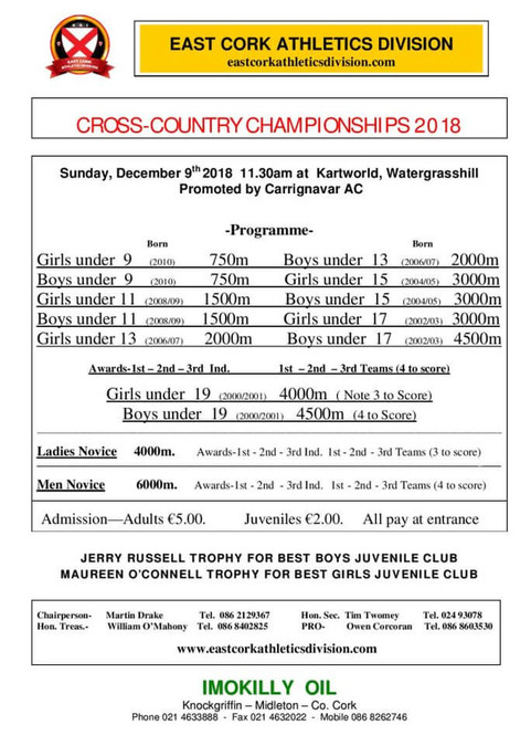 east cork athletics division cross country championships day 2 program 2018 page 001