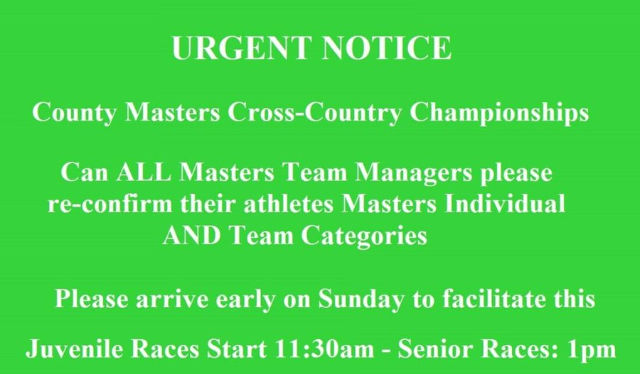 county masters xc entry notice 2019