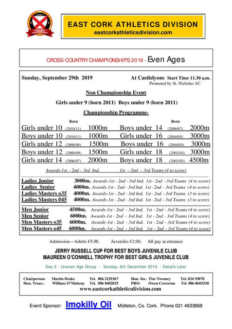 east cork cross country championship day 1 programme 2019