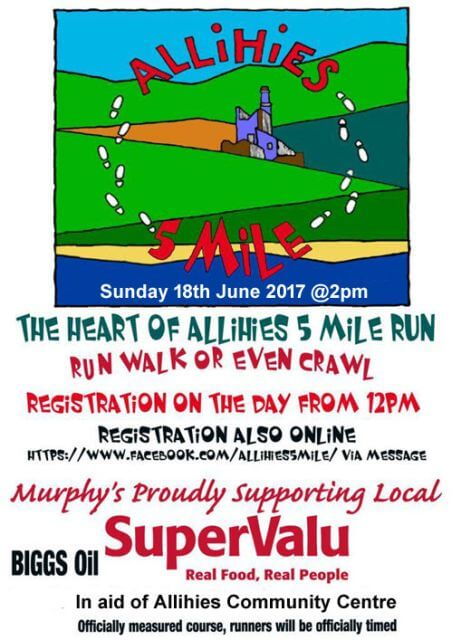 heart of allihies 5 mile road race flyer 2017
