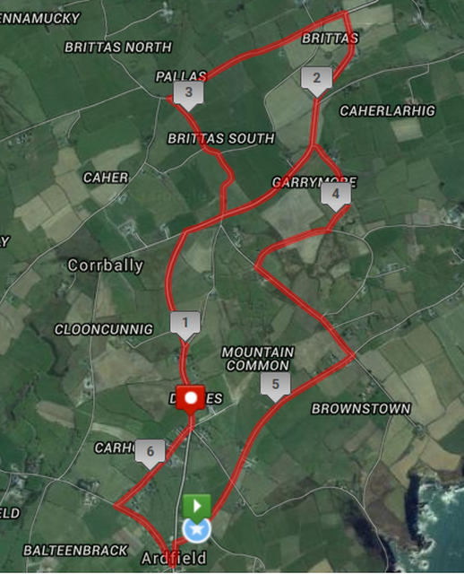 Ardfield 10k Road Race Course Route Map