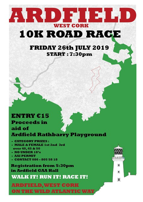 ardfield 10k road race flyer 2019