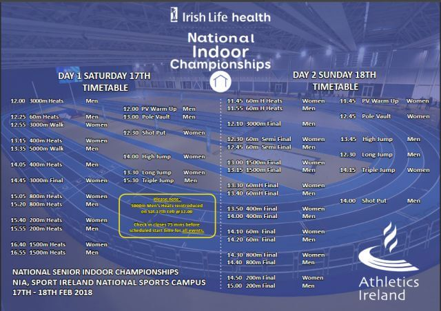 athletics ireland national indoor championships timetable 2018