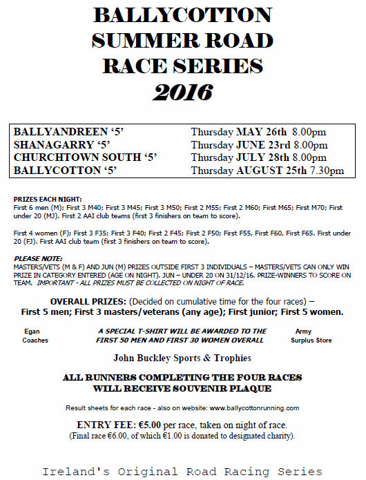 Ballycotton 5 Mile Summer Series Flyer 2016