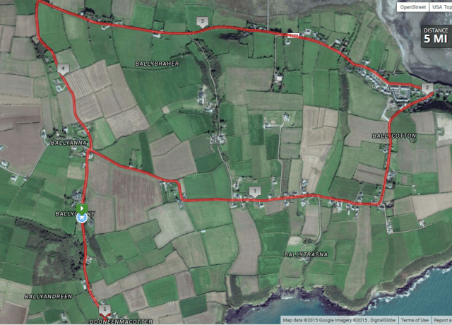 ballyandreen 5 mile road race course route map
