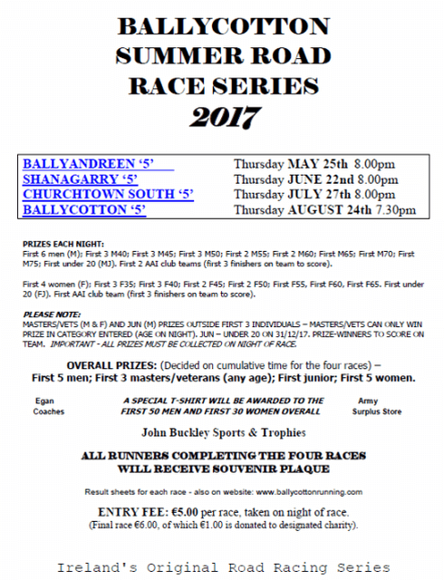 ballycotton 5 mile summer series flyer 2017