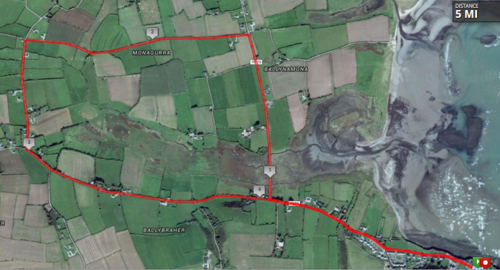 Ballycotton 5 Mile Road Race Course Route Map