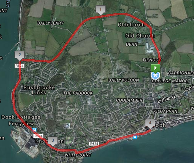 Ballymore Cobh 4 Mile Road Race Course Route Map