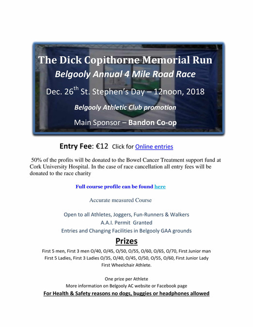 belgooly ac dick copithorne memorial 4 mile road race flyer 2018