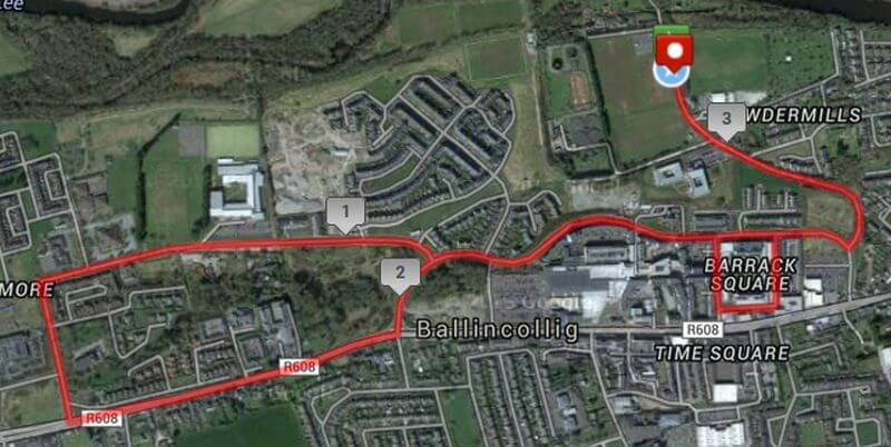 Belle of Ballincollig 5k Road Race Course Route Map