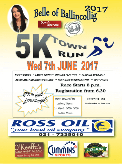 belle of ballincollig 5k flyer 2017
