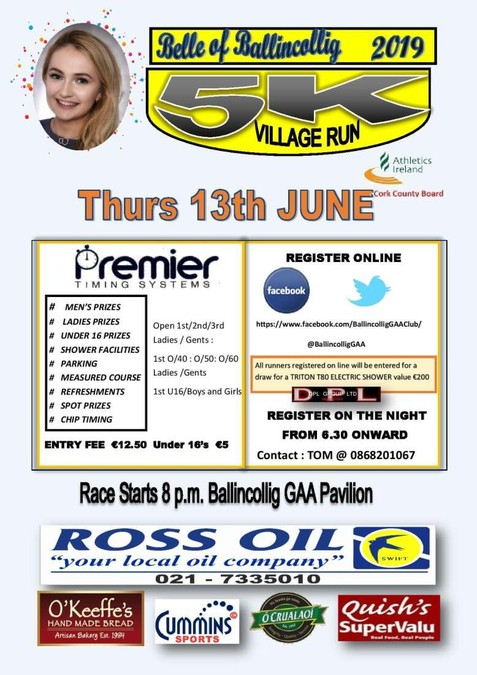 belle of ballincollig 5k road race flyer 2019