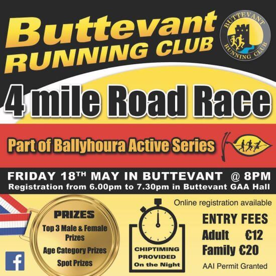 buttevant 4 mile road race flyer 2018