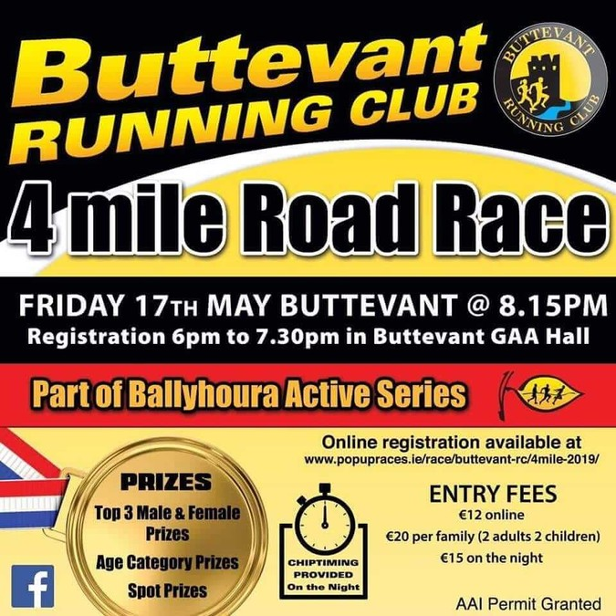 buttevant 4 mile road race flyer 2019