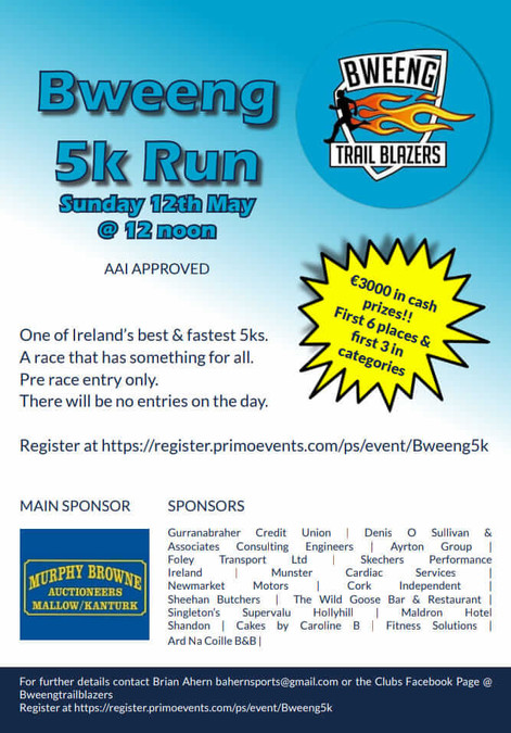 bweeng 5k road race flyer 2019
