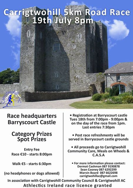 carrigtwohill 5k road race flyer 2017