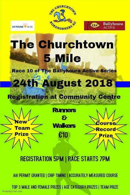 churchtown 5 mile road race flyer 2018
