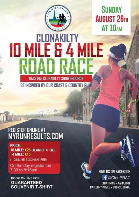 clonakilty 10 mile road race flyer 2018a