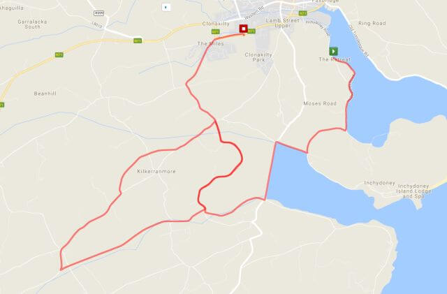 clonakilty 10 mile road race route map 2017