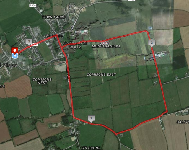 Cloyne 5k Road Race Course Route Map