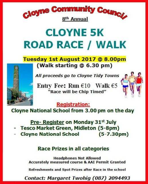 cloyne 5k road race flyer 2017