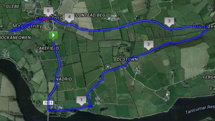 Coachford 5 Mile Road Race Course Route Map