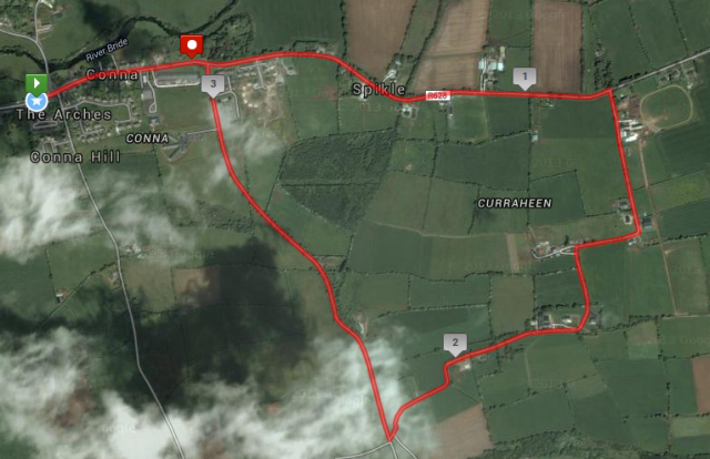 St Catherine's AC Conna 5k Road Race - Route Map