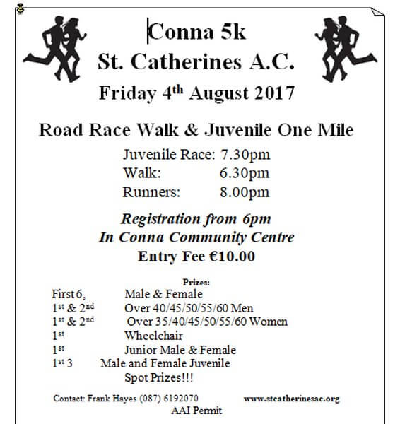 conna 5k road race flyer 2017