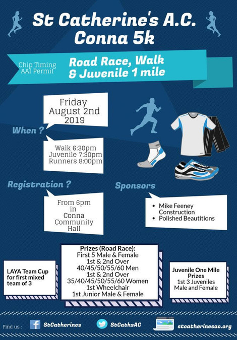 conna 5k road race flyer 2019