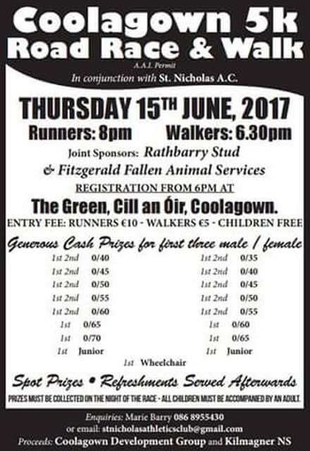 coolagown 5k road race flyer 2017