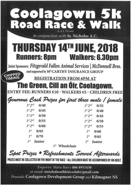 coolagown 5k road race flyer 2018
