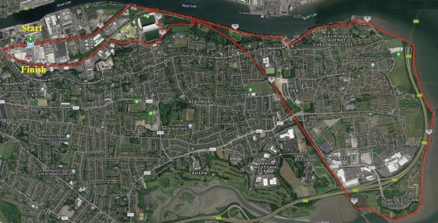 cork city 10 miler route map 2019