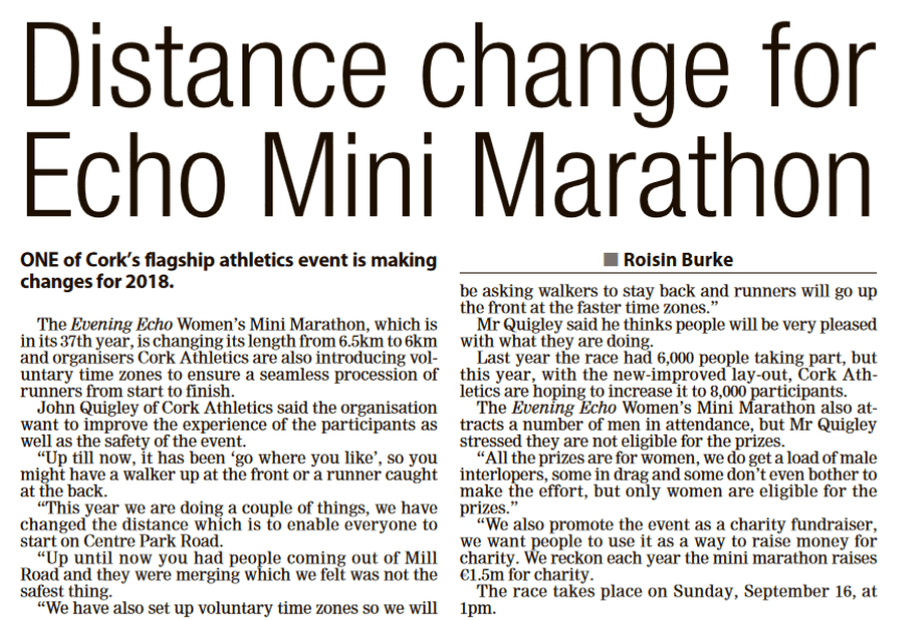 evening echo womens mini marathon wed july 11th 2018a