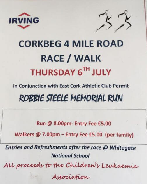 Robbie steele memorial 4 mile road race flyer 2017