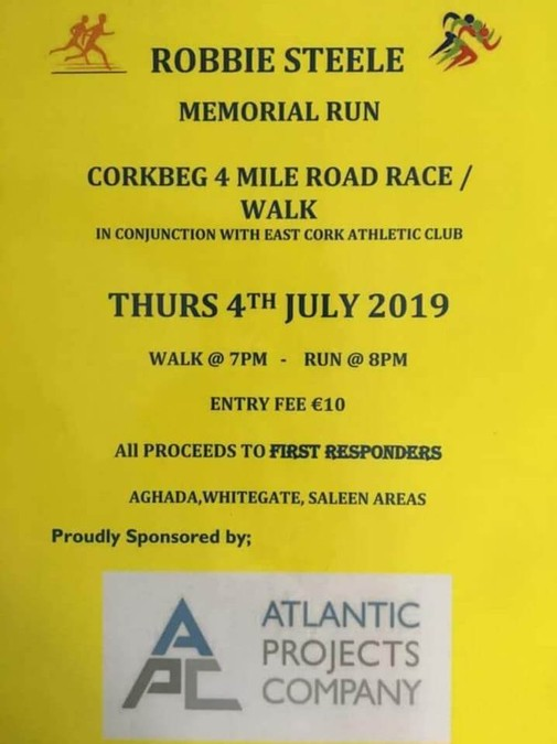 robbie steele corkbeg 4 mile road race flyer 2019