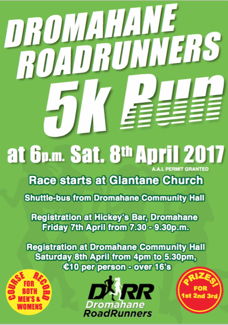 Dromahane 5k Road Race Flyer 2017