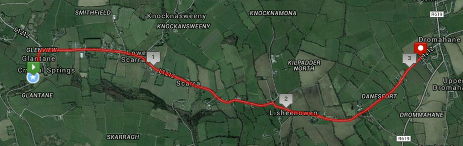 Dromahane 5k Road Race Course Route Map