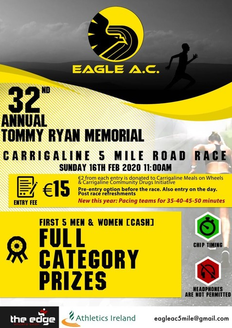 32nd eagle ac tommy ryan memorial carrigaline 5 mile road race flyer 2020