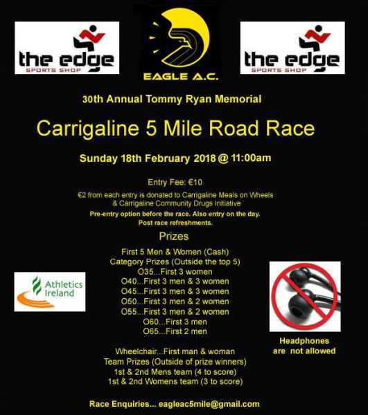 eagle ac tommy ryan memorial carrigaline 5 mile road race flyer 2018