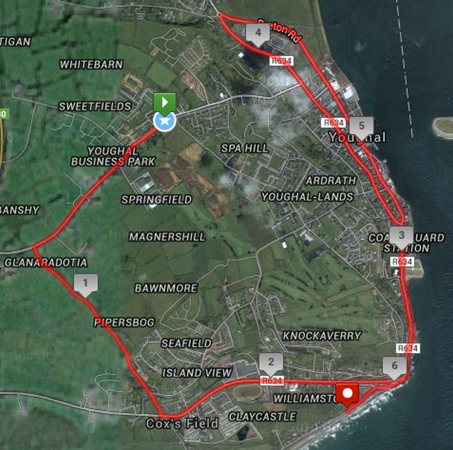 Emer Casey 10k - Youghal - Course Route Map