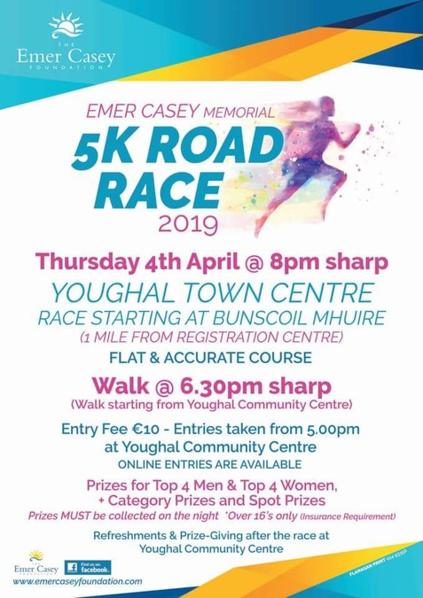 emer casey 5k road race flyer 2019