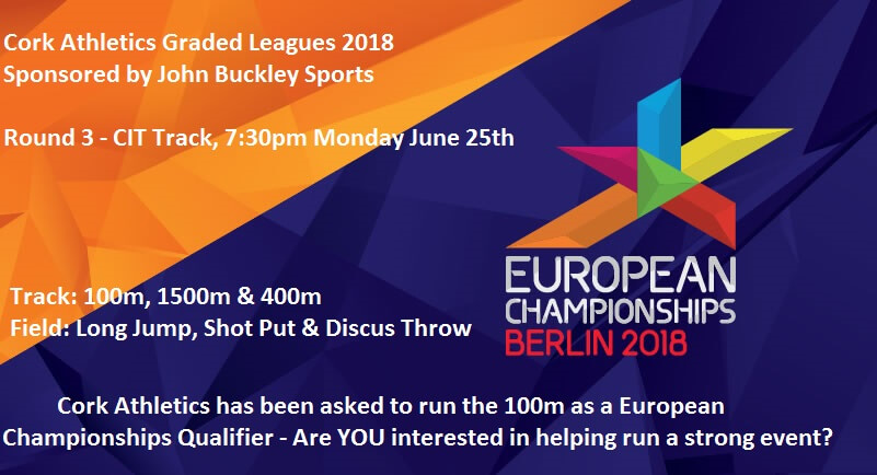 cork athletics graded leagues round 3 2018 100m european championships qualifier