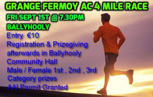 grange fermoy 4 mile road race flyer 2017