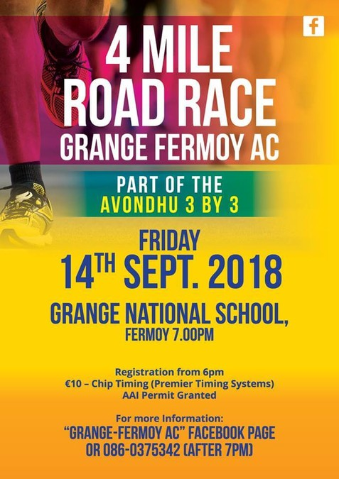 grange fermoy 4 mile road race flyer 2018a