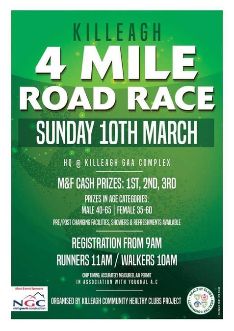 killeagh 4 mile road race flyer march 10 2019