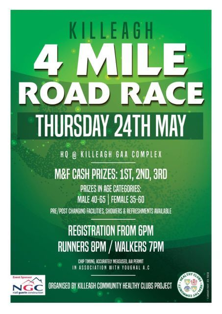 killeagh gaa 4 mile road race rescheduled flyer may 2018