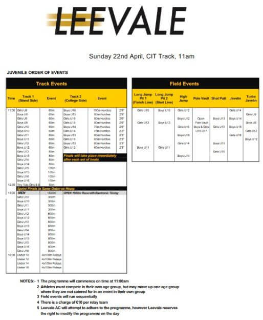 leevale juvenile sports 2018 order of events